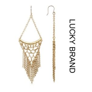 NWT [lucky brand] Antique Gold Tone Chain Earrings